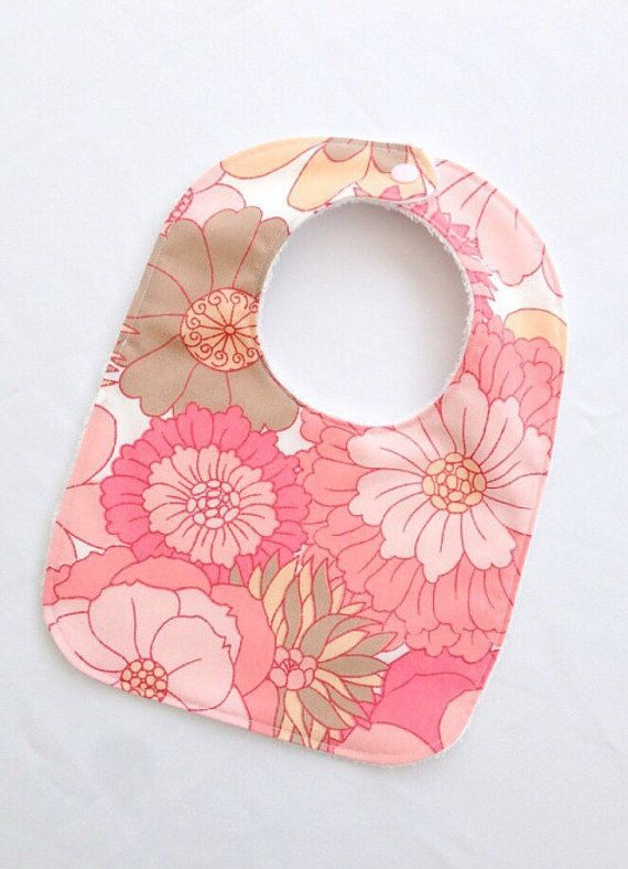 Retro baby girls bib, pink vintage flowers, hippie bohemian baby style, baby girls clothes uk