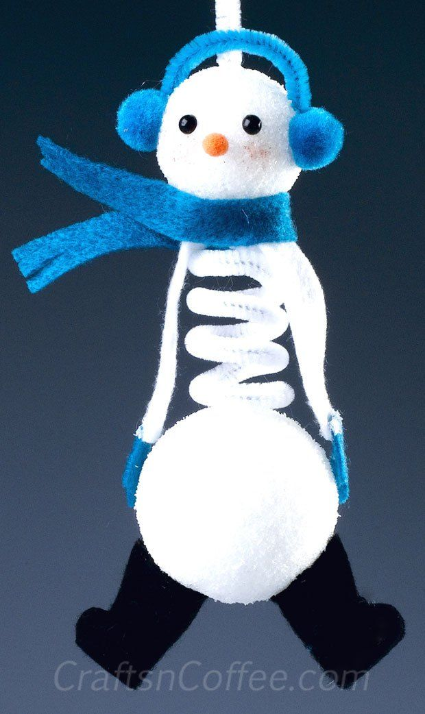 You can make this cute, Springy Snowman Ornament with two balls of Styrofoam brand foam and a chenille stem. Great gift idea, too.