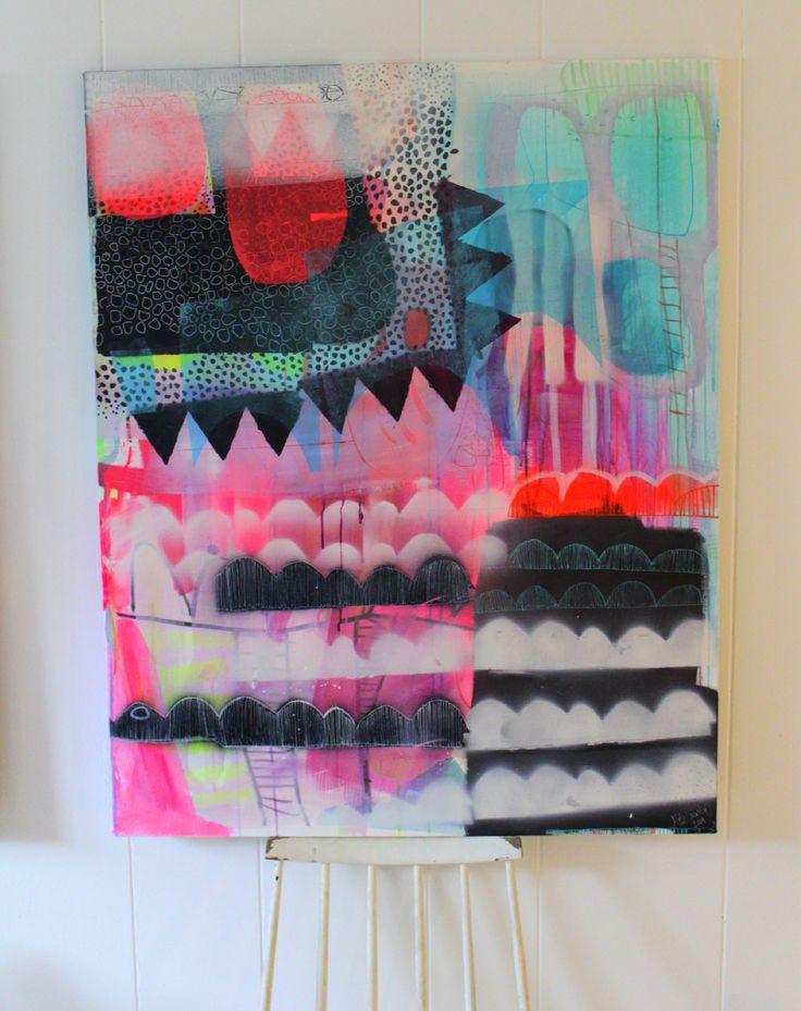Painting witj neon and pastels by Mette Lindberg - www.mettesmaleri.dk