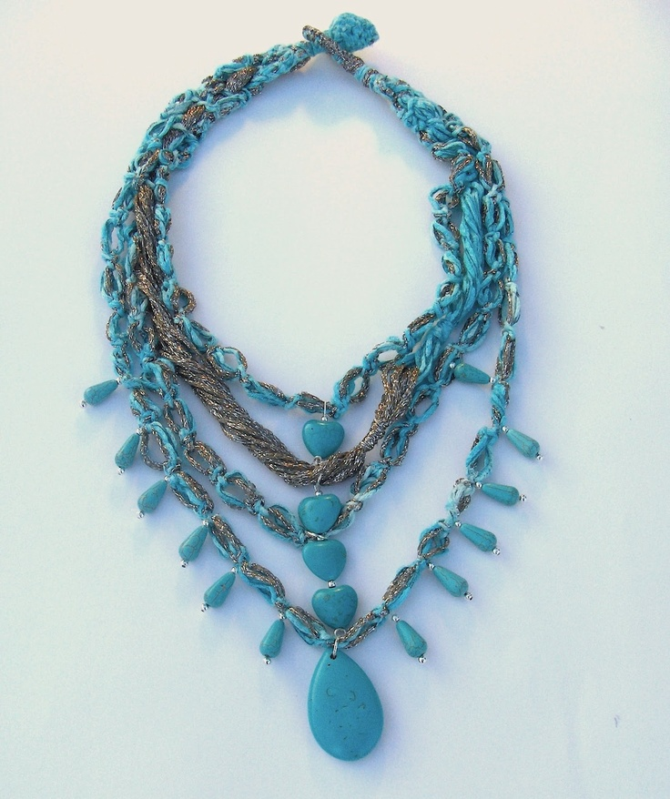 #CASCADE #necklace A cascade of multiple #silver and #turquoise chains composed of #cotton yarn and soft twisted silvery yarn with drops of turquoise stone Length: 14'' Color: Turquoise, silver by #FTJ #FiammaTortoliJewels