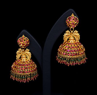 gold and gemstones temple bell earrings (vummidi.com)