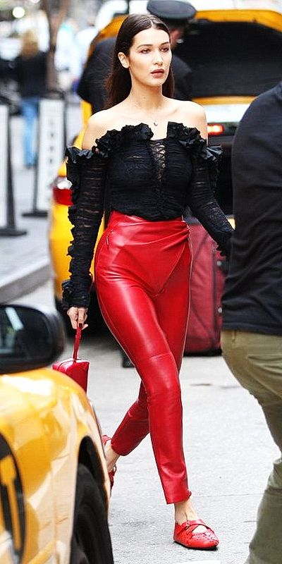 Bella Hadid dons sleek high waisted red Leather Pants