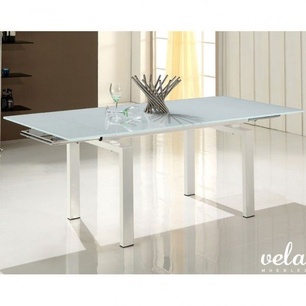 Mesa para comedor con cristal blanco patas lacadas en for Encimera blanco cristal