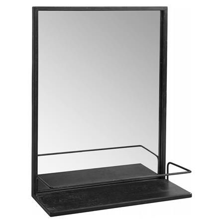 Mirror on Stand with Shelf in Silver