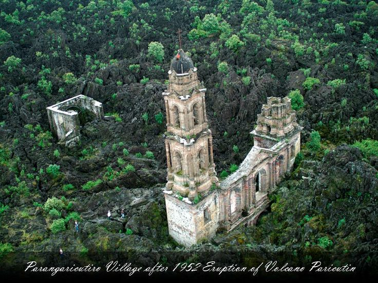 Cathedral under lava of the Paricutin Volcano, Michoacan Mexico. A truly amazing place.