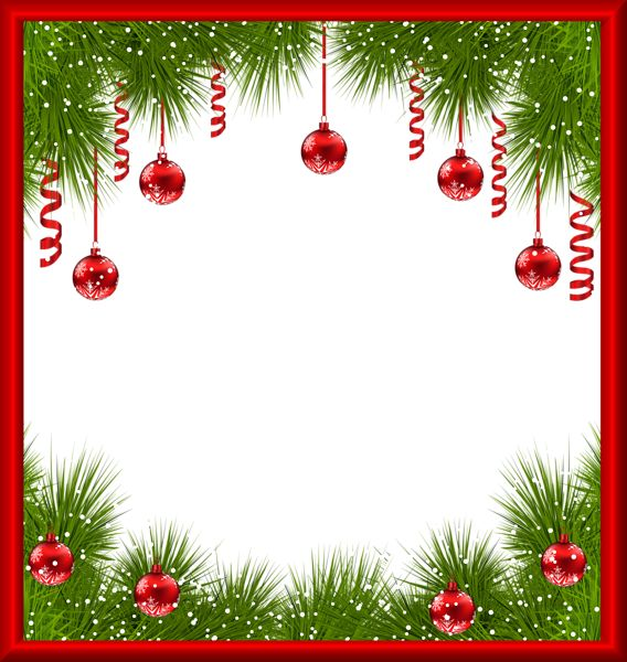 christmas transparent png frame with red ornaments ms