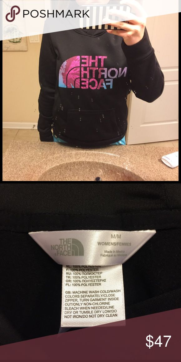 Black north face sweat shirt It is full black with pink, purple and blue letters. It is very soft on the inside and is selling for a great price! Comment down below if you have any questions! North Face Other