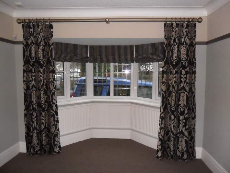 16 best images about bow windows on pinterest window for Roman shades that hang from a curtain rod
