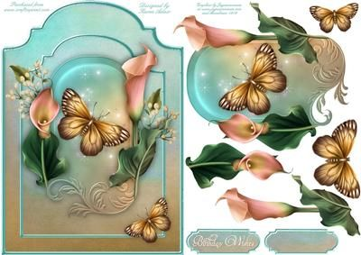 A Lily Dream Shaped Card Front With Step by Step on Craftsuprint designed by Karen Adair - This sheet will make a pretty shaped card. Includes decoupage and 2 sentiment tags, one left blank for you to personalise if you wish. If you like this check out my other designs, just click on my name. - Now available for download!