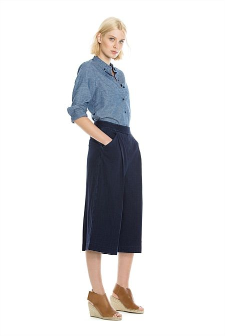 Chambray Shirt and Indigo Culotte - Both from Country Road