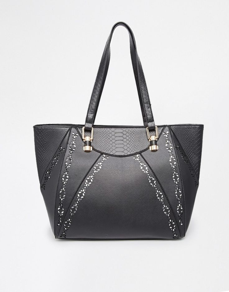 New Look Laser Cut Out Trim Contrast Panel Tote | ASOS