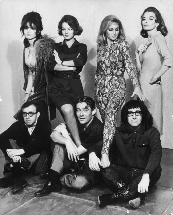 Paula Prentiss, Romy Schneider, Ursula Andress and Capucine, with Woody Allen, Peter OToole and Peter Sellers in Whats New Pussycat? (1965)