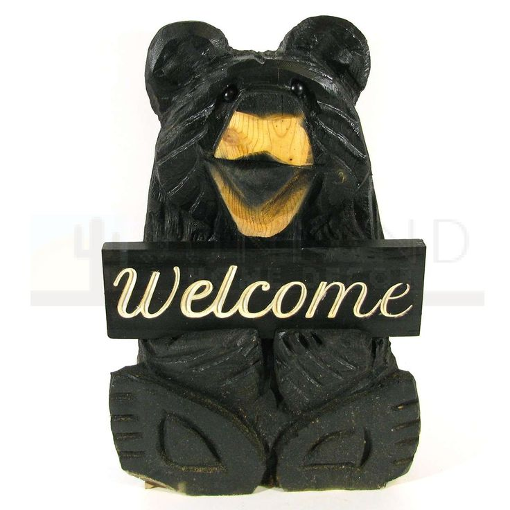 Sunland Home Decor: Chainsaw Carving - 18in Sitting Black Bear - Welcome