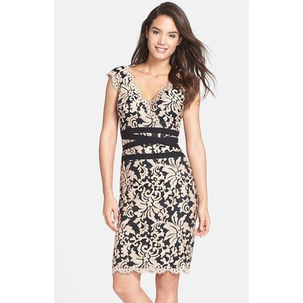 Tadashi Shoji Embroidered Lace Sheath Dress ($238) ❤ liked on Polyvore featuring dresses, petite, petite wrap dress, sheath dress, petite sheath dress, tadashi shoji dresses and scalloped dress