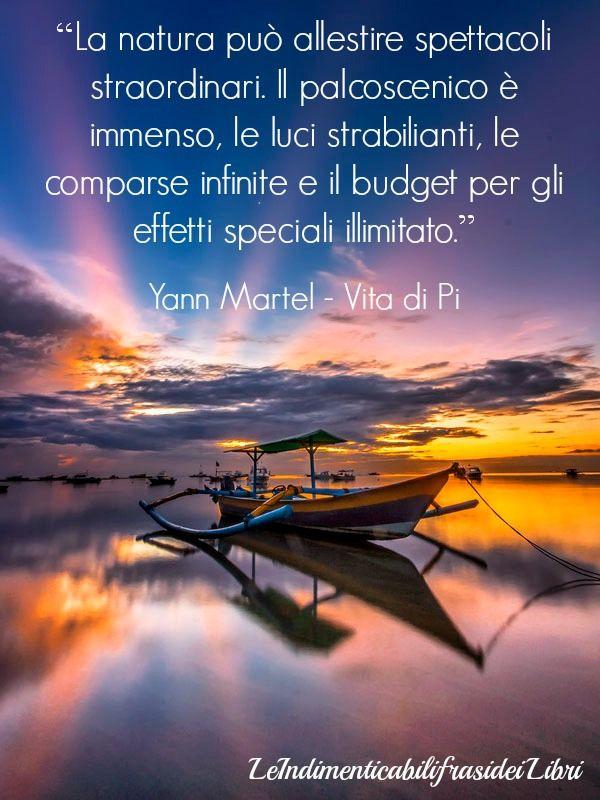 """""""La natura può allestire spettacoli straordinari. Il palcoscenico è immenso, le luci strabilianti, le comparse infinite e il budget per gli effetti speciali illimitato."""" Yann Martel - Vita di Pi"""