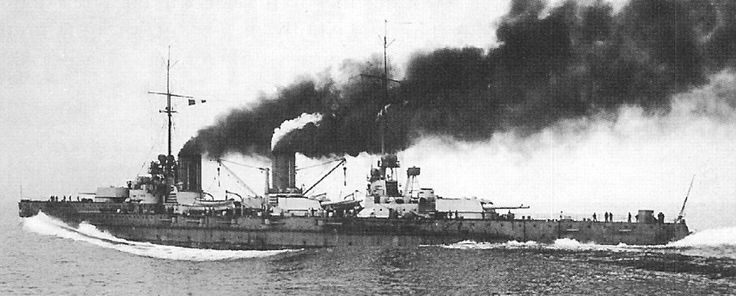 Germany's first battlecruiser, SMS Von der Tann, on trials in 1910: at 27 knots the world's fastest capital ship. A response to the British 'Invincibles', she was notably better protected albeit less powerfully armed (11 in rather than 12 in guns). At Jutland she destroyed the battlecruiser HMS Indefatigable within 10 minutes of opening fire.
