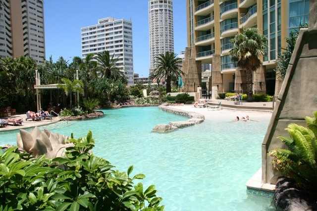 The Mantra Sun City in Surfers Paradise - Lagoon style main pool with Aztec Pyramid waterslides