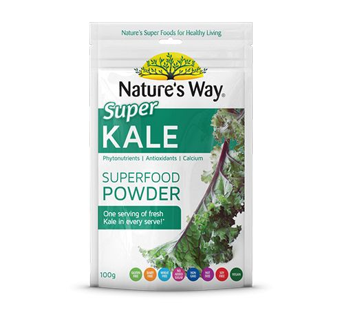 Nature's Way Super Kale is the queen of greens.  Containing fibre , magnesium and  Vitamins A, C, and K, one serving of Nature's Way Super Kale  helps digestion , aids stamina and provides the body with essential nutrients vital for good health.