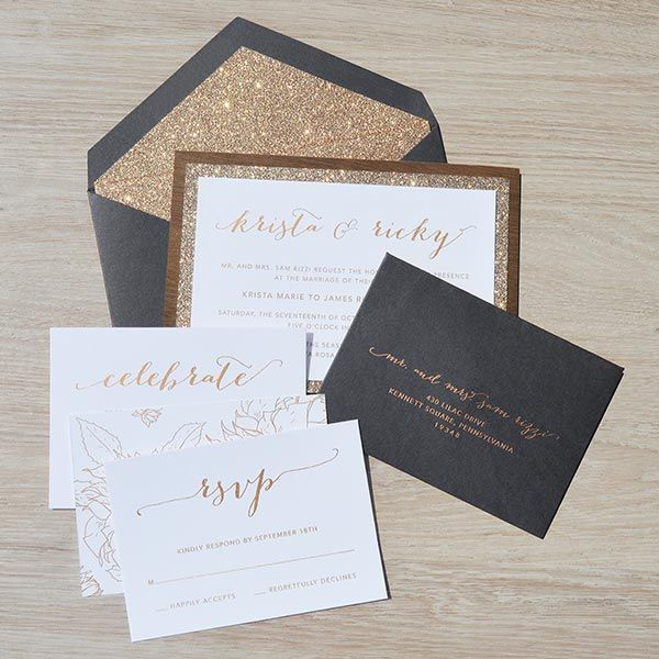 "For an extra ""wow"" factor, choose an envelope pattern in a complementary design as the main invite."