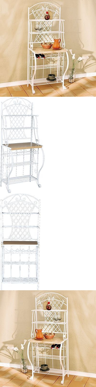 Bakers Racks 20482: White Metal Kitchen Bakers Rack Wine Storage Home Shelving Decor Display Stand -> BUY IT NOW ONLY: $130.01 on eBay!