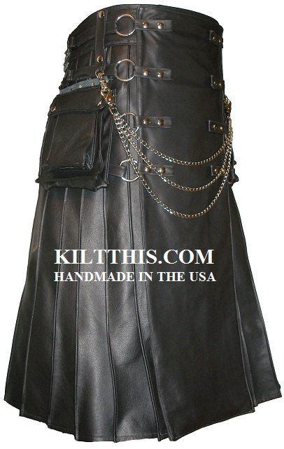 Utility Kilt Full Length Leather Utility Kilt for Men