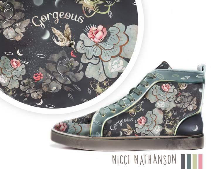 Shoe design, pattern design by Nicci Nathanson www.niccinathanson.com