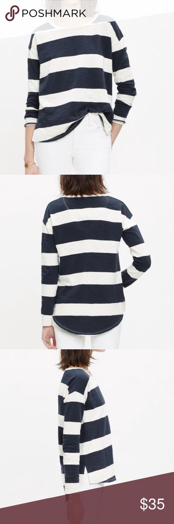 """Madewell setlist pullover in rugby stripe Madewell setlist pullover in rugby stripe.  This cozy striped pullover has a slouchy fit and an easy neckline for a pop-it-on-over-everything feel. In EUC. Worn once. Navy blue and white/cream stripes. Heavier weight than a tee, but not quite a sweatshirt. Hi lo hem. Underarm to underarm 30"""". Length 24""""-26"""". Madewell Tops Tees - Long Sleeve"""