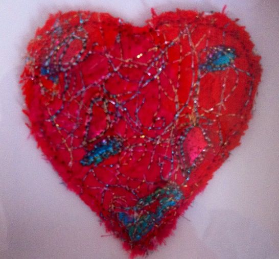 Heart (Confetti appliqué, machine embroidery, foil, cutback)