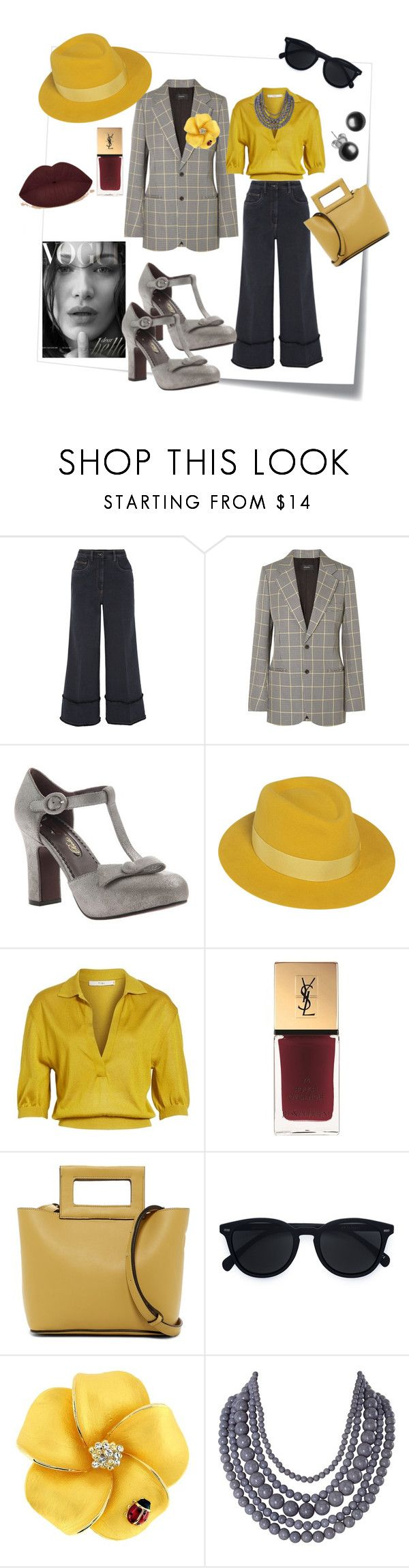 """""""Here's looking at you kid"""" by mshunt ❤ liked on Polyvore featuring Post-It, Miu Miu, Joseph, Poetic Licence, Maison Michel, TIBI, Yves Saint Laurent, French Connection, Le Specs and Humble Chic"""