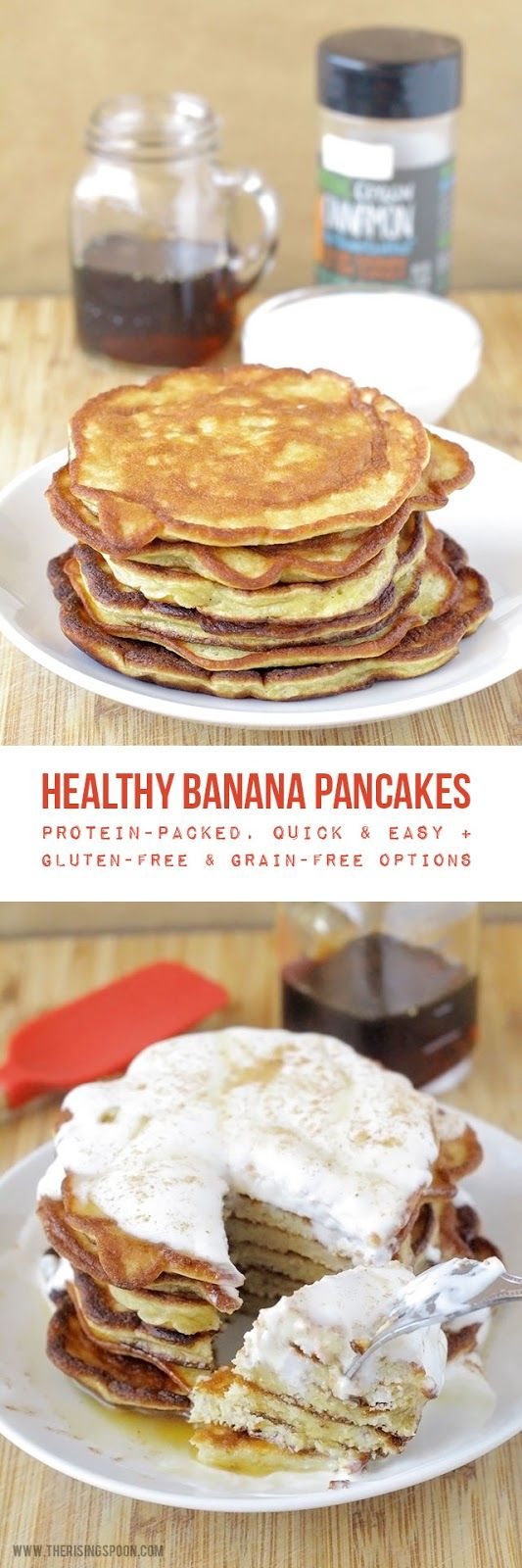 An easy recipe for healthy banana pancakes made with as little as four…