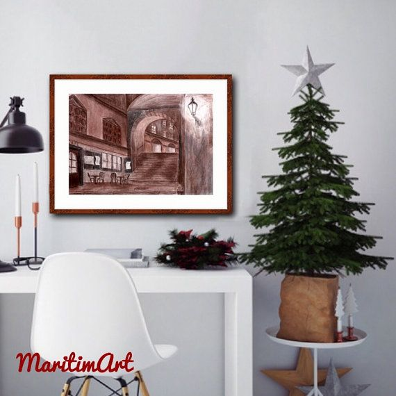 Night Street in Sepia Original Art Print Cityscape by MaritimArt