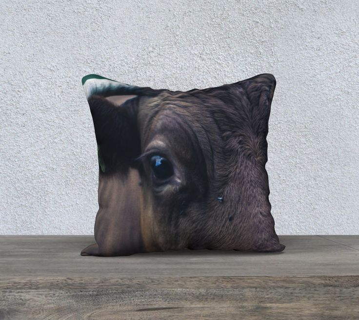 "18""+x+18""+pillow+""Cow""+by+Mixed+Imagery"