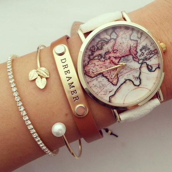 Vintage World map printed gold-tone watch with faux leather strap. Perfect for stacking with other bracelets and make perfect arm party! Feel beautiful everyday! Movement: Quartz Power: Battery Case f