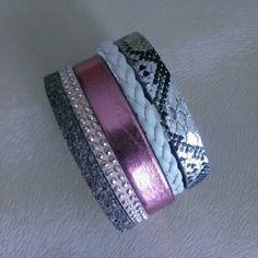 Bracelet manchette multirang en cuir gris, blanc et rose - taille s