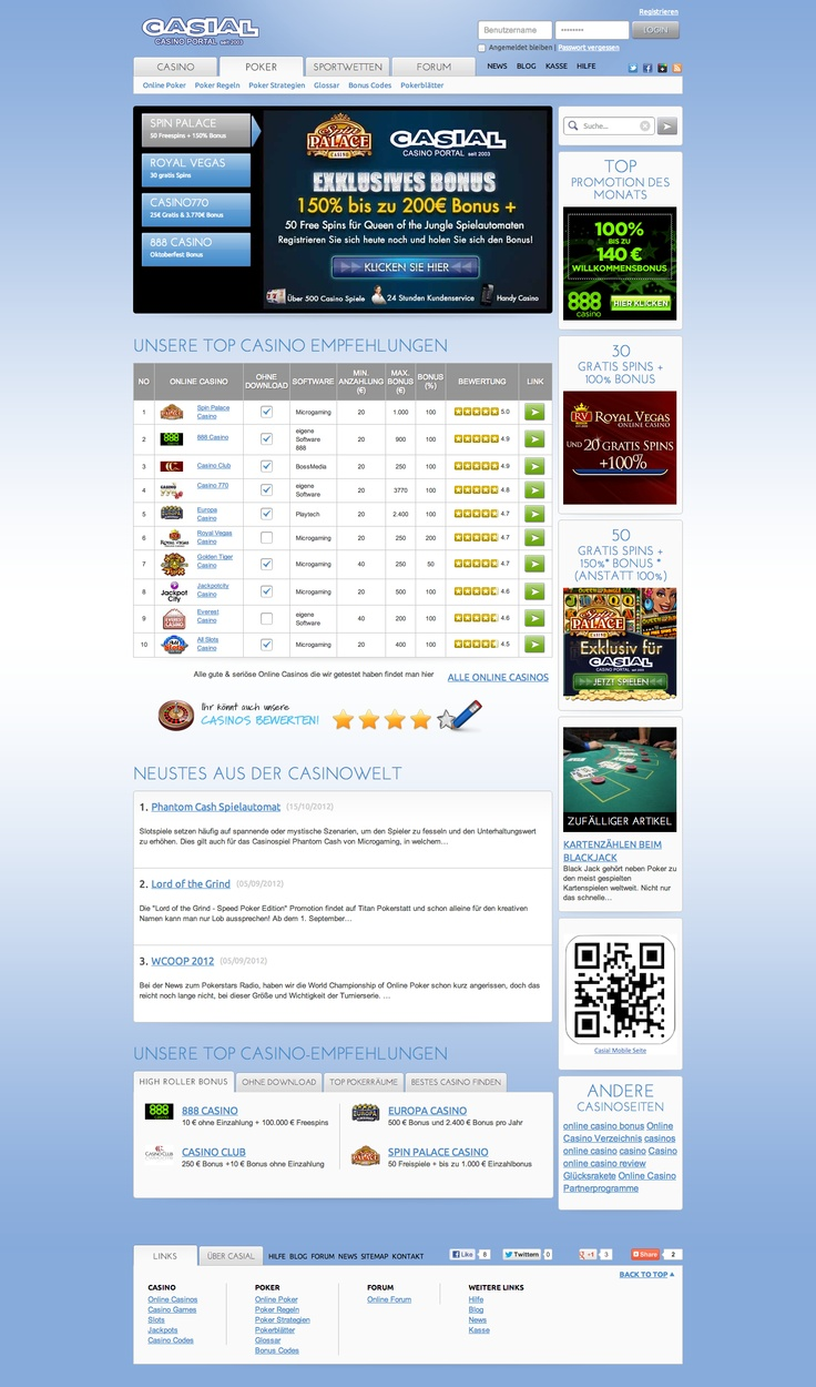 Check out the new website we created for www.casial.net a popular German Casino Reviewing portal. Every thing was created from scratch, following the Wireframe - Screen Design - Web Authoring - Development model. Check it out and tell us what you think.