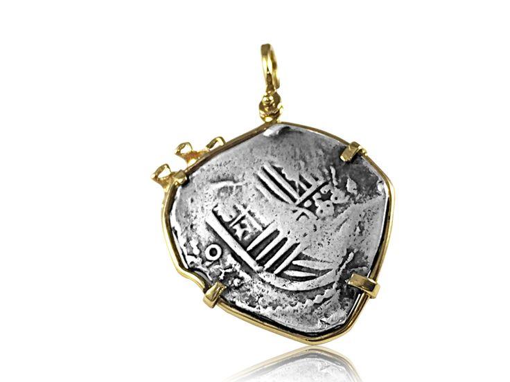 4 Reales Galleon Mexico 14k Gold Bezel Treasure Coin Pendant at depaulas.com