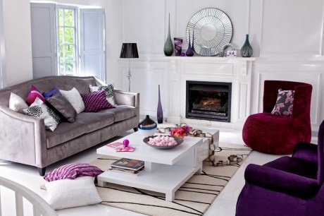 Jewel tones. There's an excellent mix of neutrals and color in this room