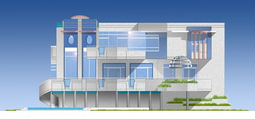 Unique Waterfront Ultra Modern, Art Deco House Design by