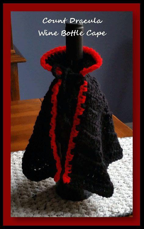"I added ""Count Dracula Wine Bottle Cape - Free Halloween wine bottle cover pattern"" to an #inlinkz linkup!http://www.crochetmemories.com/blog/count-dracula-wine-bottle-cape/"