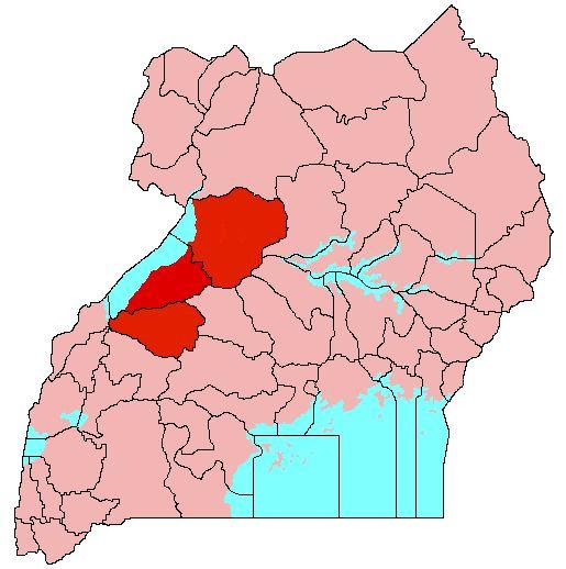 Location of Bunyoro (red) in Uganda