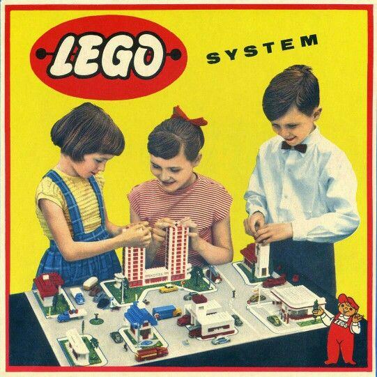 1950s Lego set box lid illustration