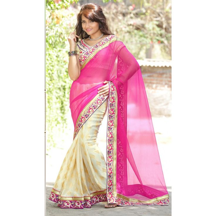 Pink and Cream Jacquard Wedding #Saree With Blouse- $53.00