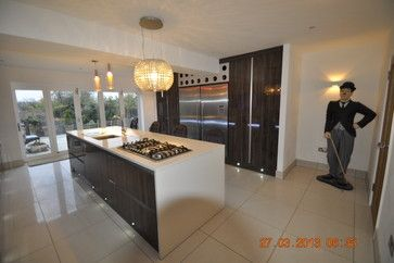 contemporary - Kitchen - bespoke furniture - gloss finish - modern - lights - island  www.cliveandersonfurniture.co.uk