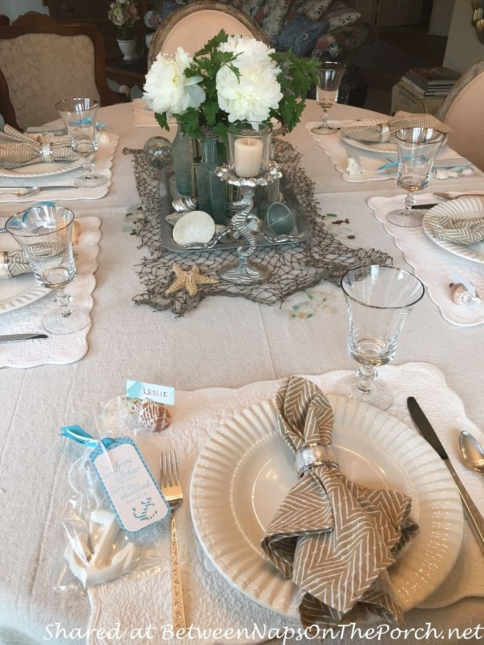 Beach Themed Table With Crystal Stemware By The First Lady By Gorham And  The Sterling Flatware