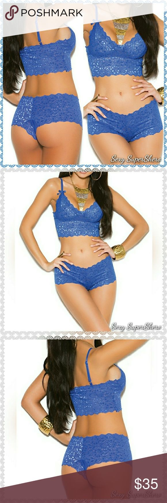 Blue Lace Booty Shorts & Cami top Lingerie set Soft Stretch lace booty shorts with matching camisole top, beautifully embellished with cute satin bows. Shoulder straps are adjustable. These sets are super soft and beyond comfortable!   Size(s): S,M,L (see size chart pic above)  Color(s): This listing is for the Royal Blue, Also available in Red,Black,and White and in Plus sizes! Check out my other listings.  Material(s): 90% Nylon, 10% Elasthan Prices are firm unless bundled Bundle to save…
