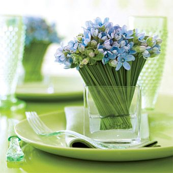 Brides.com: 48 Creative Wedding Flower Ideas. Sealed with a twist: Looking for an alternative to one large centerpiece? Consider putting a personal posy of steel grass–tied tweedia at each place setting.     Vase, , Planter Resource. Napkin, , Felix Populi. Plate,  Davis Studio. Flatware, Murval. Champagne flutes, L.E. Smith Glass. Floral design by Ovando.