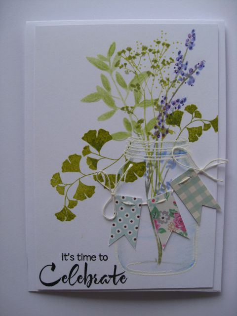 handmade card ... mason jar with field flowers  ... string of little banners on top ...