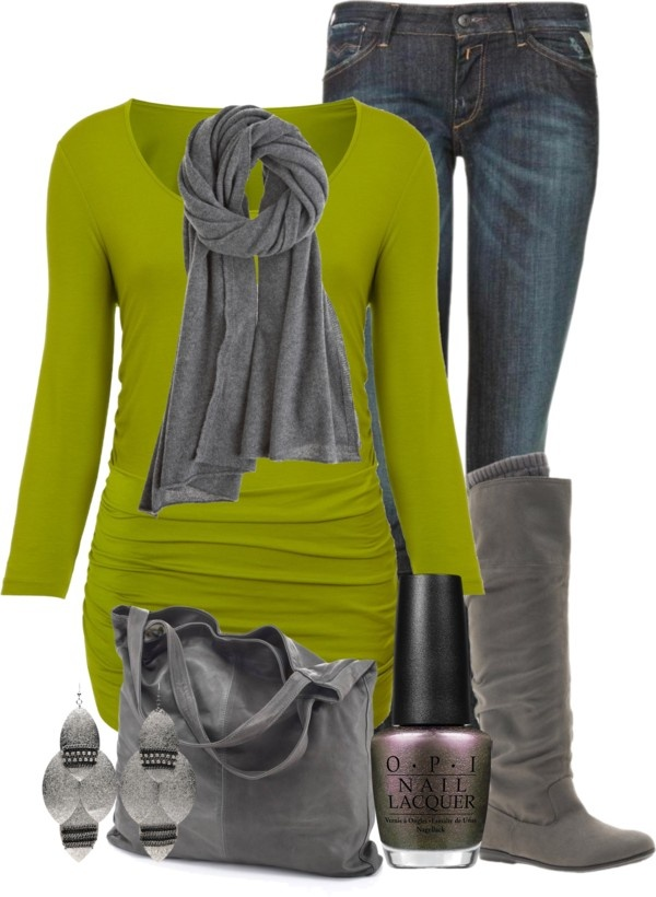 """Lime green & grey"" by ljjenness on Polyvore"