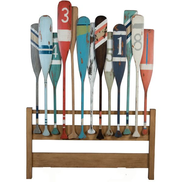 Marina Oars Headboard (€1.530) ❤ liked on Polyvore featuring home, furniture, beds, fillers, mahogany wood furniture, mahogany headboard, hand carved mahogany furniture, mahogany bed and colorful furniture