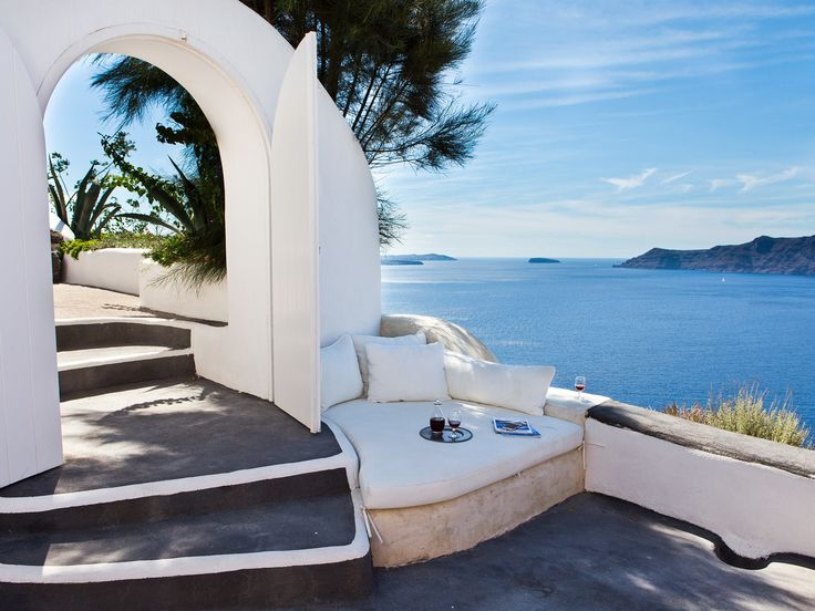 """A dream place for the soul! You feel whole again after staying at this paradisiacal sanctuary."" On a cliff above the island's famous caldera—a perfect-scoring location—this resort ""embodies simplicity, elegance, and tranquillity."" Modern, spare rooms converted from 300-year-old caves have clean white walls with splashes of vivid fuchsia, mauve, aqua, and rose in the cushions and bedding. There are no TVs, but there is an ""absolutely marvelous infinity pool""—Mediterranean fish and other…"
